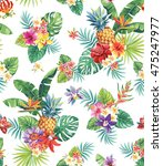 seamless tropical pattern with... | Shutterstock .eps vector #475247977