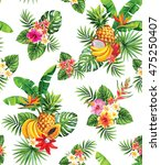 seamless pattern with tropical... | Shutterstock .eps vector #475250407
