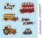 set of kids transport patches... | Shutterstock .eps vector #475253977