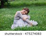 girl in elegant dress with...   Shutterstock . vector #475274083