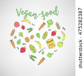 set of the vegan food icons.... | Shutterstock .eps vector #475282387