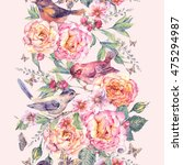 vintage watercolor floral... | Shutterstock . vector #475294987