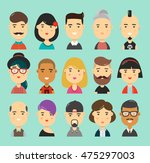 a set of 15 people characters... | Shutterstock .eps vector #475297003