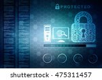 security concept  lock on... | Shutterstock . vector #475311457