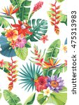 seamless pattern with palm... | Shutterstock .eps vector #475313983