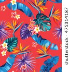 seamless pattern with palm... | Shutterstock .eps vector #475314187