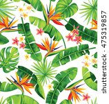 seamless pattern with palm... | Shutterstock .eps vector #475319857