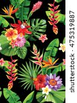 seamless pattern with palm... | Shutterstock .eps vector #475319887