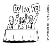 Group Of Judges Showing Score...