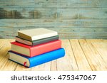 books on the wooden old... | Shutterstock . vector #475347067