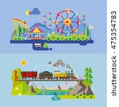set of different landscapes in... | Shutterstock .eps vector #475354783