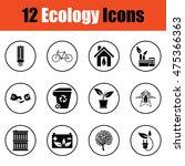 ecology icon set. thin circle...