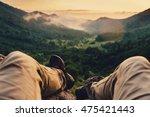 traveler young man enjoying... | Shutterstock . vector #475421443