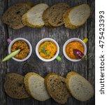 baguette and various pesto top... | Shutterstock . vector #475423393