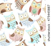 adorable watercolor owls... | Shutterstock . vector #475445887