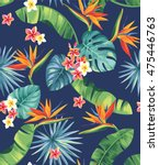 seamless pattern with tropical... | Shutterstock .eps vector #475446763