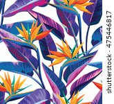 seamless tropical pattern with... | Shutterstock .eps vector #475446817