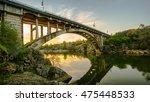 River Bridge At Sunset In...