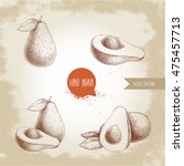 set of hand drawn avocados.... | Shutterstock .eps vector #475457713