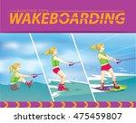 wakeboarding start. boating... | Shutterstock .eps vector #475459807