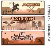 three horizontal wild west... | Shutterstock .eps vector #475466113