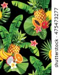 seamless pattern with tropical... | Shutterstock .eps vector #475473277