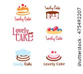 six concepts of pie and cake... | Shutterstock .eps vector #475492207
