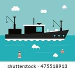 boat ship clouds sea ocen... | Shutterstock .eps vector #475518913