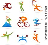 set of colorful sport icons | Shutterstock .eps vector #47554405