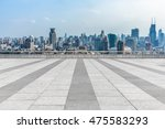 empty brick floor with city... | Shutterstock . vector #475583293