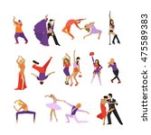 set of dancing people. dance... | Shutterstock . vector #475589383