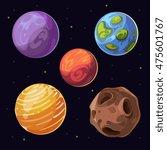 cartoon alien planets  moons... | Shutterstock .eps vector #475601767