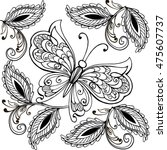 hand drawn butterfly and... | Shutterstock .eps vector #475607737
