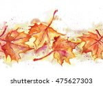 maple leaves seamless garland | Shutterstock . vector #475627303