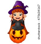 little witch cartoon sitting on ... | Shutterstock .eps vector #475634167