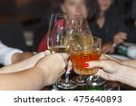 dinner party celebration concept | Shutterstock . vector #475640893