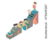 stairs of books with many boys...   Shutterstock .eps vector #475649287