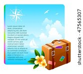 travel suitcase and tropical... | Shutterstock .eps vector #47565307