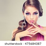 beautiful model girl with... | Shutterstock . vector #475684387