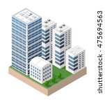 flat 3d isometric urban city... | Shutterstock .eps vector #475694563