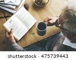 coffee break reading travel... | Shutterstock . vector #475739443