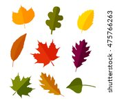 autumn leaves set in flat style.... | Shutterstock .eps vector #475766263