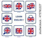 learn uk english icon set | Shutterstock .eps vector #475781227