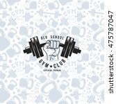 seamless pattern and emblem gym ...   Shutterstock .eps vector #475787047