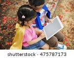 superhero kid digital tablet... | Shutterstock . vector #475787173