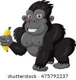 cartoon funny gorilla holding... | Shutterstock .eps vector #475792237
