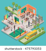 isometric school interior with... | Shutterstock .eps vector #475793353