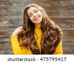 beautiful smiling brunette... | Shutterstock . vector #475795417