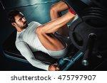 fit man training legs on leg... | Shutterstock . vector #475797907