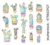 watercolor effect cactus set... | Shutterstock .eps vector #475822927